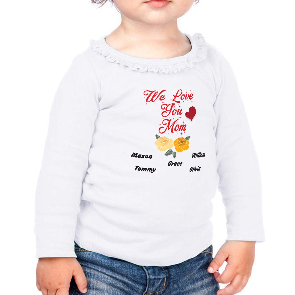 Personalized Custom Love You Mom Cotton Toddler Long Sleeve Ruffle Shirt Top