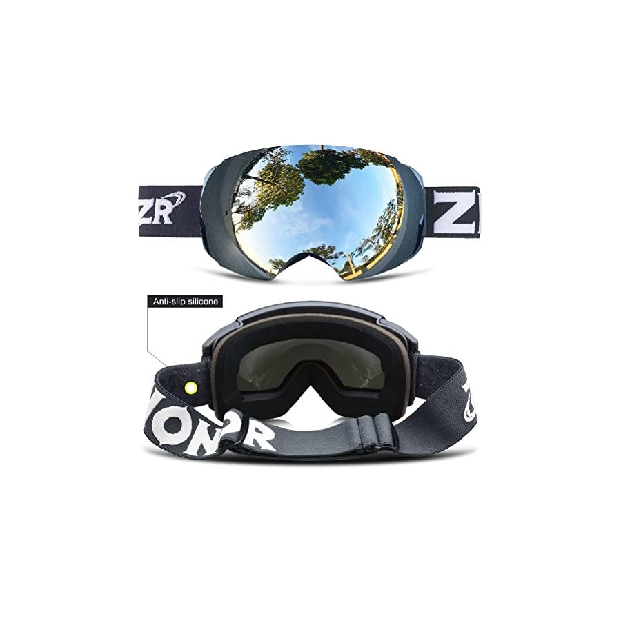 Zionor X4 Ski Snowboard Snow Goggles Magnet Dual Layers Lens Spherical Design Anti Fog UV Protection Anti Slip Strap for Men Women