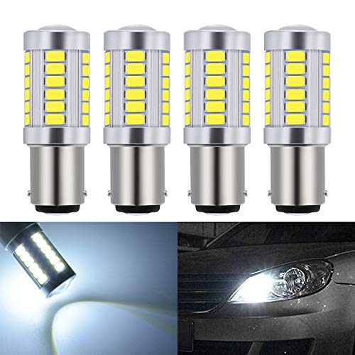 KaTur 4pcs 1157 BAY15D 5630 33-SMD White 900 Lumens 8000K Super Bright LED Turn Tail Brake Stop Signal Light Lamp Bulb 12V 3.6W