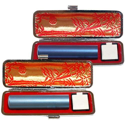 個人用カラーチタン印鑑マット黒モミケース付2本セット ライトブルー12.0mm/ブルー15.0mm [tqb] B00H8KDPS4