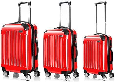 LDUDU ® Equipaje Maleta rígida Maleta con ruedas Maleta de viajes,77 cm,95 litros,4 Ruedas,Rojo