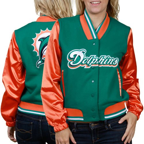 new style 53a5f 8fbca Miami Dolphins NFL Womens Three Cheers Varsity Jacket ...