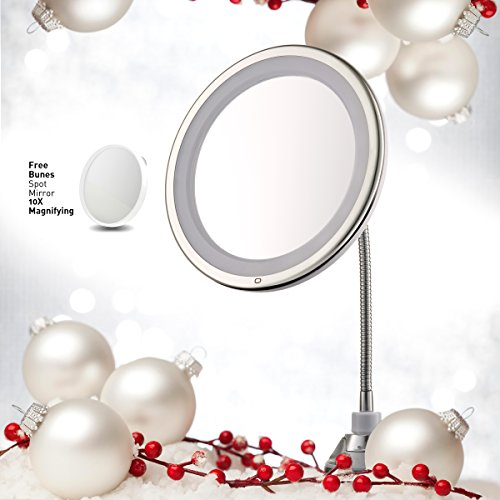 "Lighted Makeup Mirror 10"" Long Gooseneck Mirror w/ Warm LED Light, Best Wireless, Battery Operated, Adjustable, Bathroom Vanity Dresser Mirror, FREE 10X Magnifying Spot Mirror, Compact Travel Mirror (Attached Gooseneck)"