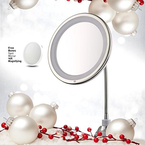 "- Lighted Makeup Mirror 10"" Long Gooseneck Mirror w/ Warm LED Light, Best Wireless, Battery Operated, Adjustable, Bathroom Vanity Dresser Mirror, FREE 10X Magnifying Spot Mirror, Compact Travel Mirror"