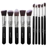 ACEVIVI Classic Black 10 pcs Essential Kit Makeup Brush Set Foundation Kabuki Powder Blush Concealer Kit with Case
