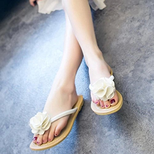 Deesee (tm) Donne Pantofole Bohemia Scarpe Basse Fiore Per Il Tempo Libero Sandali Signora Scarpe Da Spiaggia Allaperto Bianco