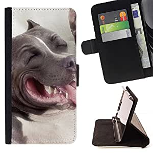 For HTC One M8 American Pit Bull Terrier Dog Beautiful Print Wallet Leather Case Cover With Credit Card Slots And Stand Function