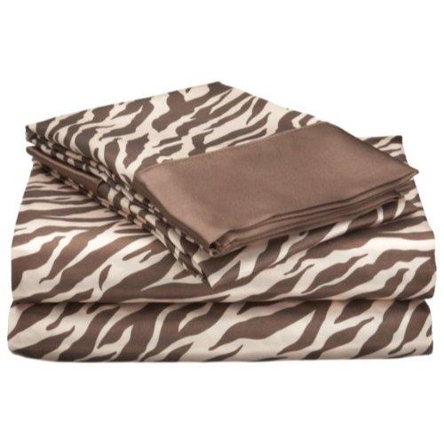 Divatex Home Fashions Royal Opulance Satin King Sheet Set, Zebra, Brown/Ivory