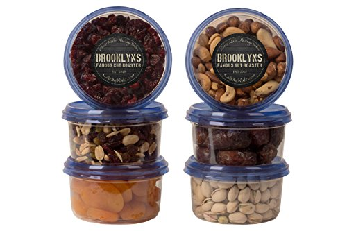Dates, Pistachios, Apricots, Craisins, Craisin Mix & Salted Nuts Mix - 6 16Oz Containers, Delicious Gourmet Variety Pack, Great for Snacking, Picnics, Housewarmings. Vegan and Kosher - Call me Nuts -