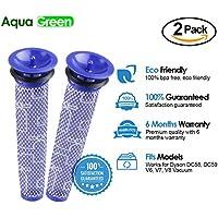 2-Pack Dyson V8, V6, V7, DC58, DC59 Compatible Washable Pre-Filter.By Aqua Green
