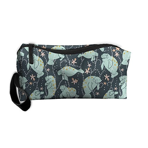 Travel Makeup Manatee Large Cosmetic Pouch Makeup Travel Bag Purse Holiday Gift For Women Or (Manatee Purse)