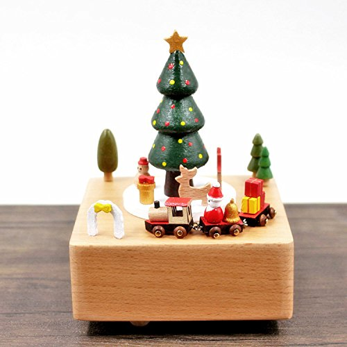 Alpacasso Musical Box Solid Wood Base, Girls Boys. (Christmas Green Tree)