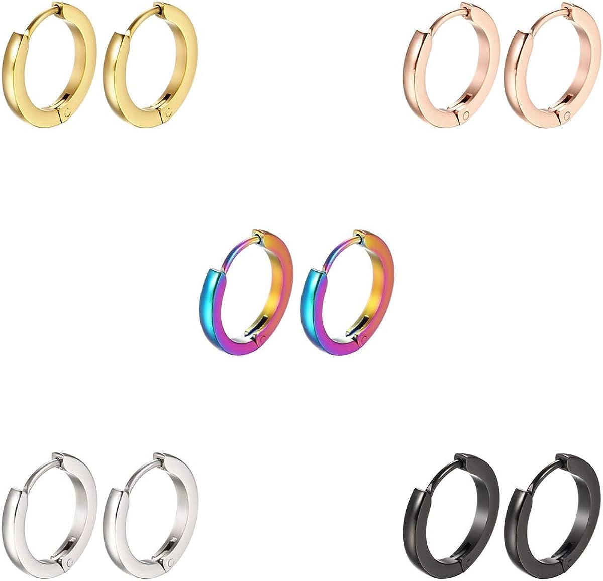 Stainless Steel Hoop Earrings 7mm/9mm/12mm Small Huggie Earrings for Women and Men