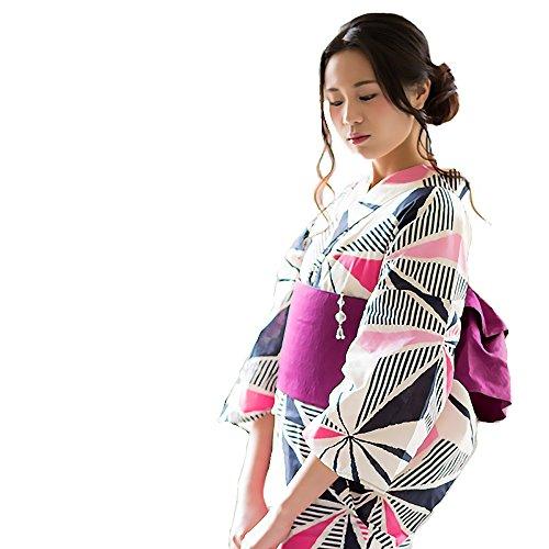 fded7025f44b6f [ 京都きもの町 ]女性浴衣3点セット「麻の葉」浴衣+帯+下駄フリーサイズ_GT-F_