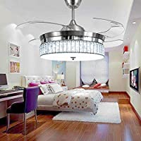 RS Lighting Crystal Ceiling Fans with Light and Remote Retractable 4 Acrylic Blades Modern Style Decorative Fan Chandelier for Indoor Living Room Bedroom-Chrome
