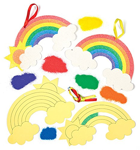 Baker Ross Rainbow Sand Art Hanging Decorations (Pack of 6) for Children to Decorate, Personalize and Display as Summer Crafts ()