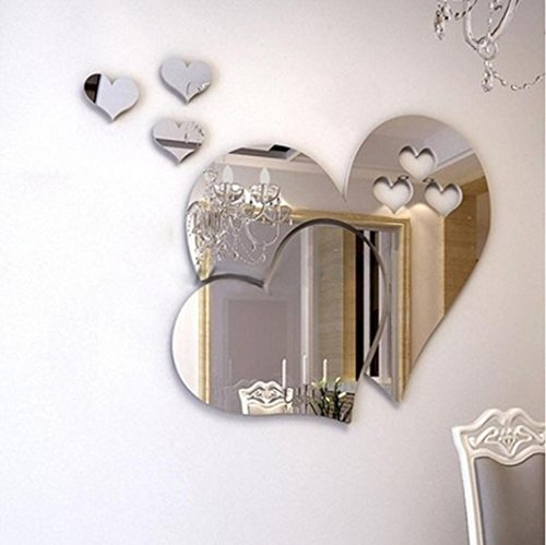 Hot Sale!!Wall Sticker,Woaills 3D Mirror Love Hearts DIY Art Mural Decor Removable Home Room Decal (Silver)