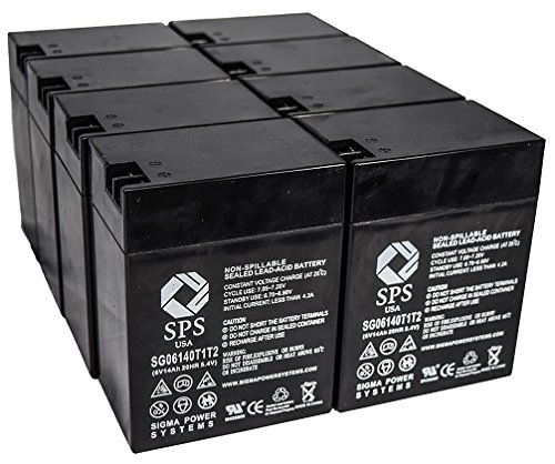 SPS Brand 6V 14 Ah Terminal T1T2 Replacement Battery for Ohio Medical Products 504US Pulse OXIMETER (8 Pack)
