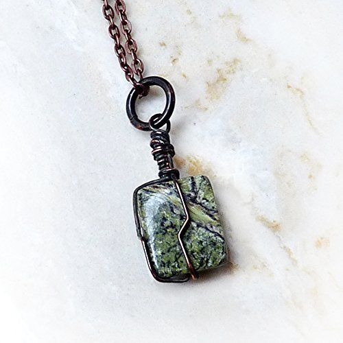 Men's Gemstone Pendant Necklace - Green Rhyolite / Rainfores