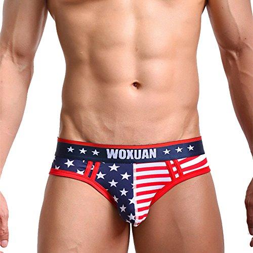 8d79f3829 YQZB Mens Sexy Underwear American Flag Print Shorts WOXUAN Breathable Briefs  Panties