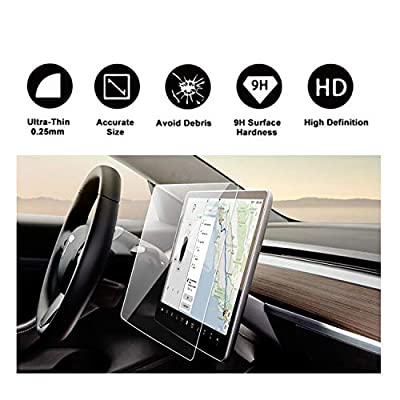 "Tesla Model 3 15"" Center Control Touchscreen Car Navigation Touch Screen Protector, P50 P65 P80 P80D Tempered Glass 9H Anti-Scratch and Shock Resistant"
