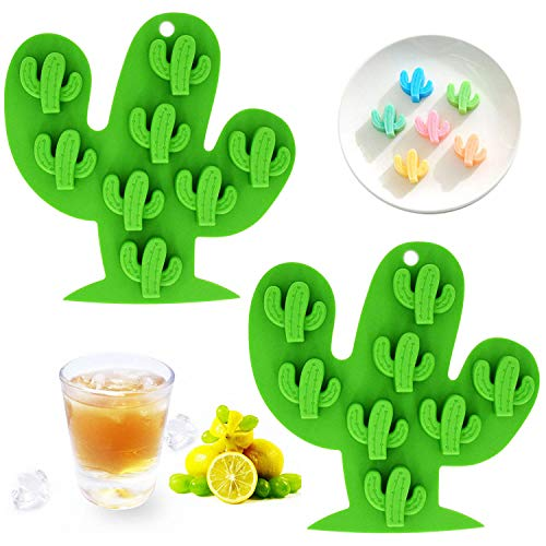 Fewo 2Pcs Mini Cactus Ice Cube Tray, Cacti Silicone Molds Set for Chocolate Candy Cake Cupcake Soap Baking Jello Cookie Wax Crayon