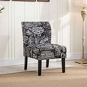 kitchen accent furniture amazon com roundhill furniture capa print fabric armless contemporary accent chair chalkboard 7741