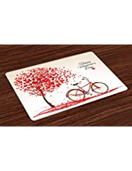 Ambesonne Valentines Day Place Mats, Romantic Tree with Blooming Love Hearts with Bike and Petals Vintage, Washable Fabric Placemats for Dining Room Kitchen Table Decor, Cream Vermilion