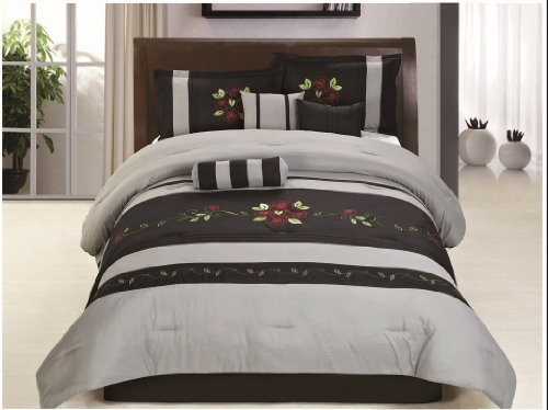 SUPER SPECIAL: Luxury 7 Piece Embroidered Silver / Black Comforter Set ()