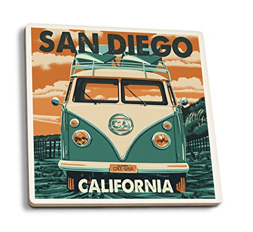San Diego, California - VW Van Letterpress (Set of 4 Ceramic Coasters - Cork-backed, Absorbent) San Diego Coasters