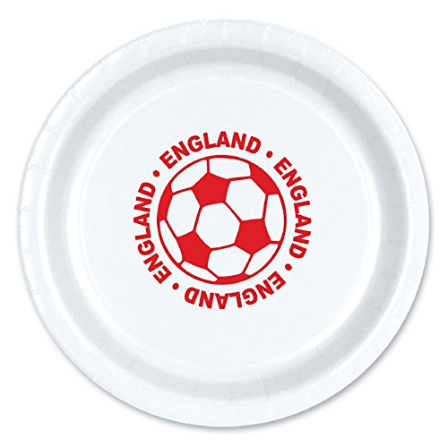 Club Pack of 96 Red and White Disposable ''England'' Soccer Ball Paper Party Dinner Plates 9'' by Party Central