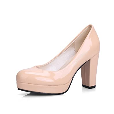 c3827bfb019 BalaMasa Womens Chunky Heels Platform Low Cut Uppers Apricot Patent Leather  Pumps Shoes APL09656-4.5