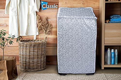 Classic® Top Load Washing Machine Cover Suitable for Samsung Back Panel 6.2 Kg, 6.5 Kg, 7.0 Kg, 7.2 Kg, 7.5 Kg (White & Grey, 55cms X 55cms X 92cms) India 2021