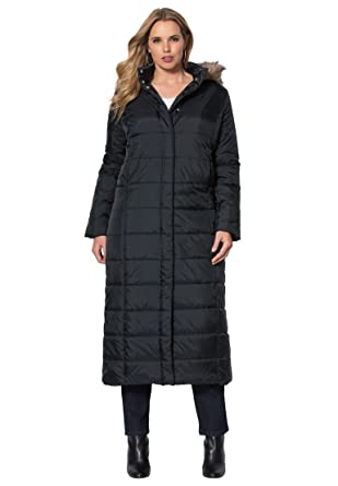 Amazon.com: Roamans Women's Plus Size Quilted Long Parka Black,L ...