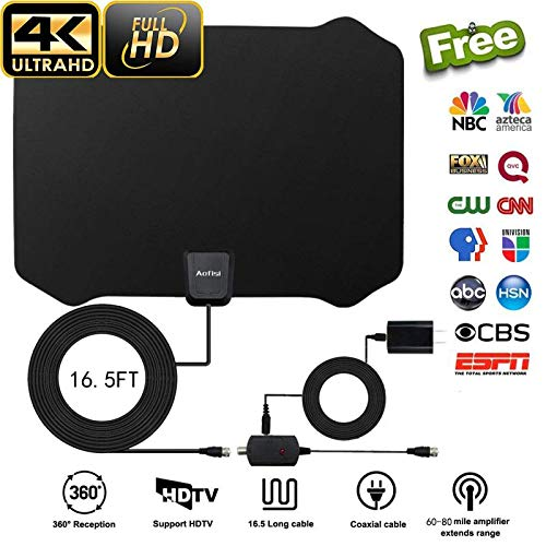 Indoor Amplified Hdtv Antenna (2018 Newest TV Antenna,Indoor Amplified Digital HDTV Antenna 60+ Mile Range with 4K 1080P HD VHF UHF Freeview TV for Life Local Channels Broadcast for All Types of Home Smart Television)