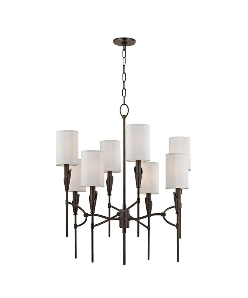 Hudson valley lighting 1304 ob tate eight light chandelier old bronze finish with white faux silk shade amazon com