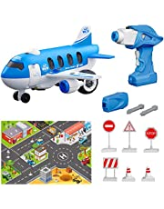 Take Apart Toy Sets, Airplane Assembly Playset, STEM Learning & Pre-school Education Toy for Kids Toddlers Boy Girl, Remote Control & Battery Operated Drill, Perfect Gift for Aged 3+ (33Pcs)