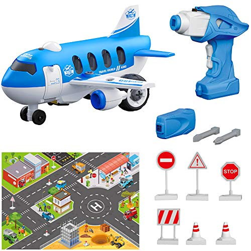 BiMONK Take Apart Toy Sets, Airplane Assembly Playset, STEM Learning & Pre-School Education Toy for Kids Toddlers Boy Girl, Remote Control & Battery Operated Drill, for Aged 3+ (33Pcs)