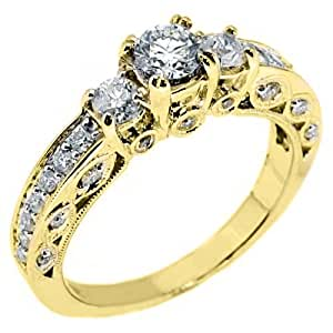 14k Yellow Gold 3 Stone Round Antique Diamond Engagement