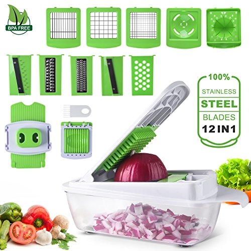 12 Chopper - Cool-Shop Vegetable Cutter, Chopper,Grater & Julienne Slicer - 12 in 1 Heavier Duty Multi Vegetable-Fruit-Cheese-Onion Chopper-Dicer-Kitchen Cutter