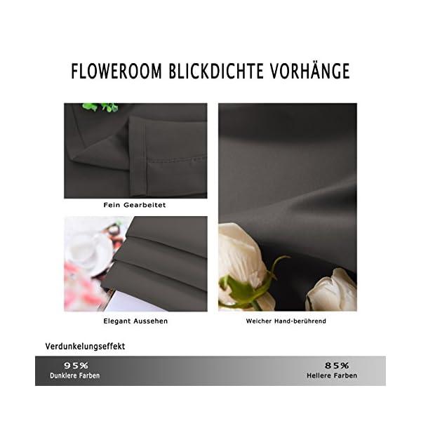 51BmydM2kIL FLOWEROOM Blickdichte Gardinen Verdunkelungsvorhang - Lichtundurchlässige Vorhang mit Ösen für Schlafzimmer…