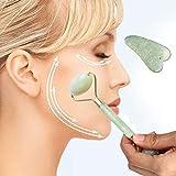 Kasien Jade Roller Massager, Anti-aging Jade Roller for Face and Gua Sha Massage Tool Set-Rejuvenates Face and Neck Skin,Face Slimmer (Random)