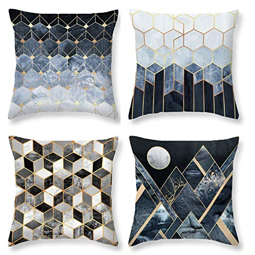 (AENEY Modern Geometric Throw Pillow Covers 18x18 for Sofa Set of 4 Throw Pillows Home Decorations )