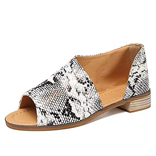 Beauta Womens Open Toe Slip on Flat Sandals Faux Leather Cut Out Asymmetrical Low Heels Sandals Summer Casual Shoes (5 M US (EUR 36), Snack)