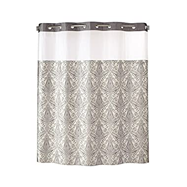 Hookless RBH85MY986 Vintage Medallion Silver Shower Curtain with Snap-In PEVA Liner