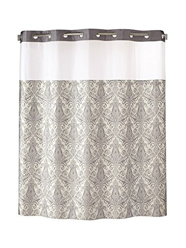 Hookless RBH85MY986 Vintage Medallion Silver Shower Curtain With Snap In PEVA Liner