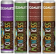 Eco Lips Mongo Kiss Lip Balm 4 Pack Acai Berry, Peppermint, Pomegranate, Vanilla Honey - 100 Percent USDA Organic - Soothe, Moisturize Dry, Cracked and Chapped Lips - Made in USA
