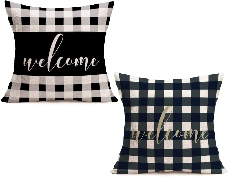 Fukeen Set of 2 Vintage White and Black Buffalo Grid Plaid Pillow Cases Cushion Cover Welcome Sweet Home Decor Cotton Linen Square 18x18 Inch Pillow Covers for Sofa Couch, Thanksgiving