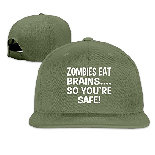LINNA Custom Unisex Zombies Eat Brains So You're Safe Flat Brim Hiphop Cap Hat - Rayban Price Sunglass