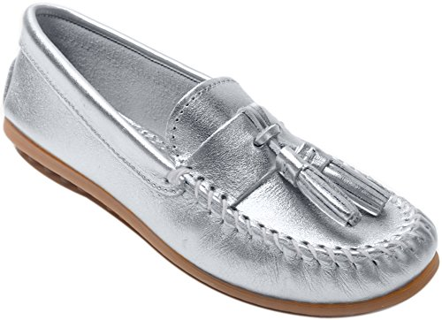 Minnetonka Shoes Womens Grace Moc Slip On Leather Tassels, Silver, Size 8.5